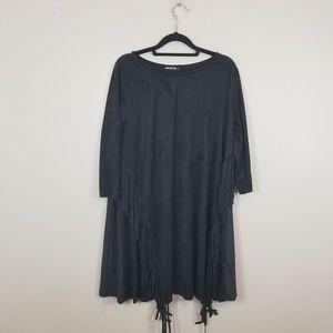 Anabelle Black Suede Feinge Details Midi Dress